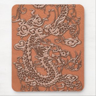 Copper Dragon on Coral Leather Texture Mousepad