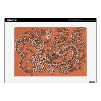 Copper Dragon on Coral Leather Texture Decal For Laptop