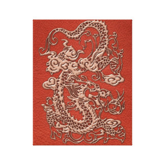 Copper Dragon on Deep Coral Leather Texture Canvas Print