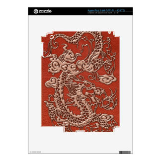 Copper Dragon on Deep Coral Leather Texture iPad 3 Decal