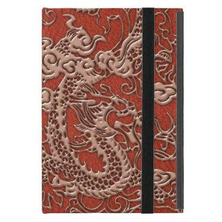 Copper Dragon on Deep Coral Leather Texture iPad Mini Case