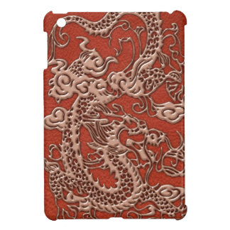 Copper Dragon on Deep Coral Leather Texture iPad Mini Covers