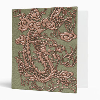 Copper Dragon on Khaki Leather Texture 3 Ring Binder