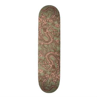 Copper Dragon on Khaki Leather Texture Skate Board Deck
