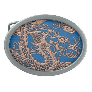 Copper Dragon on Lapis Blue Leather Texture Oval Belt Buckle