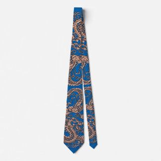 Copper Dragon on Lapis Blue Leather Texture Tie