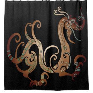 Copper Dragon on Mottled Black 2 - Shower Curtain