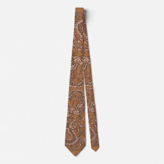 Copper Dragon on Natural Tan Leather Texture Neck Tie
