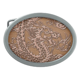 Copper Dragon on Natural Tan Leather Texture Oval Belt Buckle