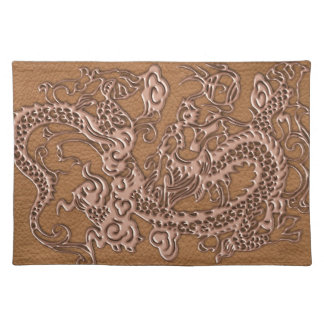Copper Dragon on Natural Tan Leather Texture Placemat