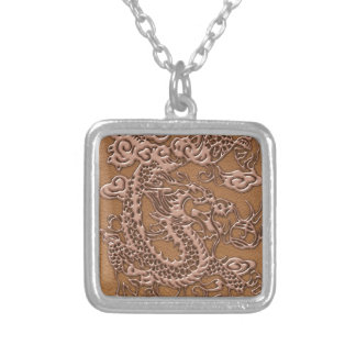 Copper Dragon on Natural Tan Leather Texture Silver Plated Necklace