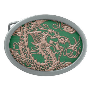 Copper Dragon on Pine Green Leather Texture Belt Buckle