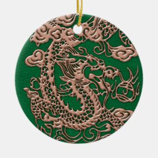 Copper Dragon on Pine Green Leather Texture Ceramic Ornament