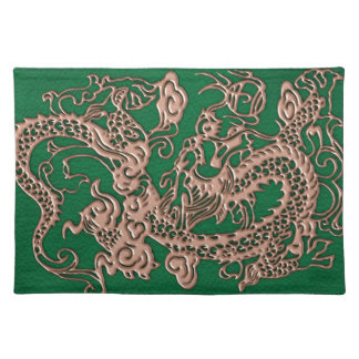 Copper Dragon on Pine Green Leather Texture Cloth Placemat