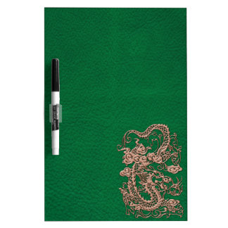 Copper Dragon on Pine Green Leather Texture Dry Erase Boards