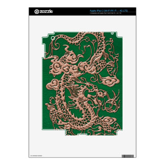 Copper Dragon on Pine Green Leather Texture iPad 3 Decal