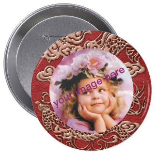 Copper Dragon on Red Leather Texture Pinback Button