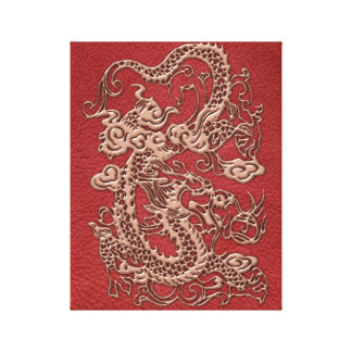 Copper Dragon on Red Leather Texture Canvas Print