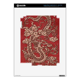 Copper Dragon on Red Leather Texture Decals For iPad 3