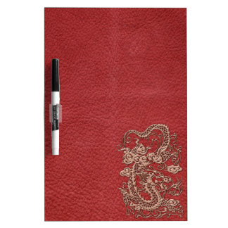 Copper Dragon on Red Leather Texture Dry-Erase Whiteboard