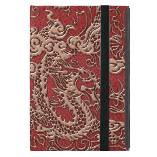 Copper Dragon on Red Leather Texture iPad Mini Cases