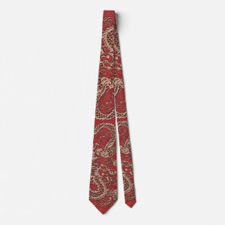 Copper Dragon on Red Leather Texture Tie