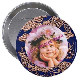 Copper Dragon on Royal Blue Leather Texture Pinback Buttons