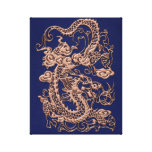 Copper Dragon on Royal Blue Leather Texture Gallery Wrapped Canvas
