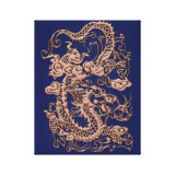Copper Dragon on Royal Blue Leather Texture Gallery Wrapped Canvas (<em>$96.90</em>)