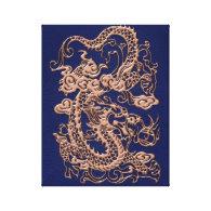 Copper Dragon on Royal Blue Leather Texture Canvas Print (<em>$95.95</em>)