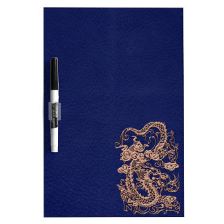 Copper Dragon on Royal Blue Leather Texture Dry Erase Whiteboard