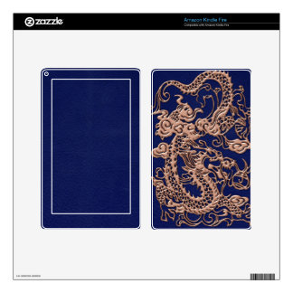 Copper Dragon on Royal Blue Leather Texture Skins For Kindle Fire