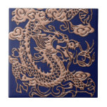 Copper Dragon on Royal Blue Leather Texture Small Square Tile