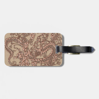 Copper Dragon on Shell Leather Texture Bag Tag