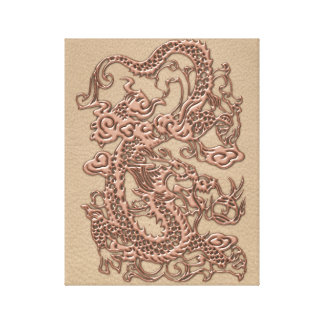 Copper Dragon on Shell Leather Texture Canvas Print