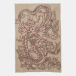 Copper Dragon on Shell Leather Texture Kitchen Towels