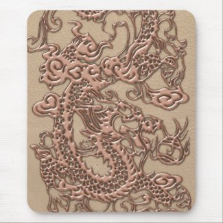 Copper Dragon on Shell Leather Texture Mousepads