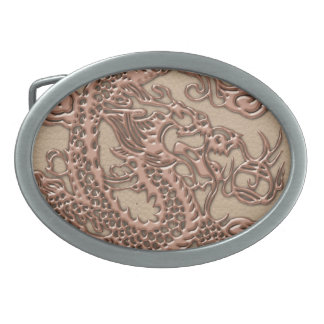 Copper Dragon on Shell Leather Texture Oval Belt Buckle