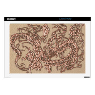 """Copper Dragon on Shell Leather Texture Decal For 17"""" Laptop"""