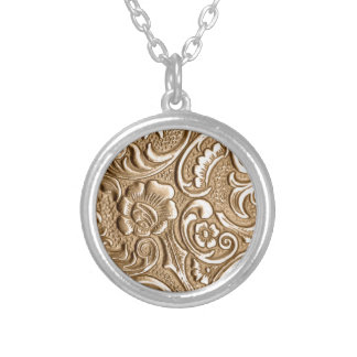 Copper embossed floral pattern. round pendant necklace