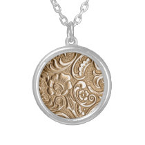 Copper embossed floral pattern. silver plated necklace