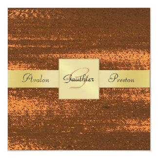 """Copper Faux Metal Gold Monogram Formal Invitation 5.25"""" Square Invitation Card"""