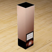 Copper fireplace monogrammed wine box