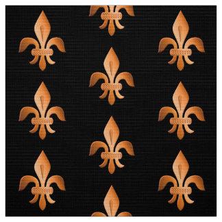 Copper Fleur-de-lis on black Fabric