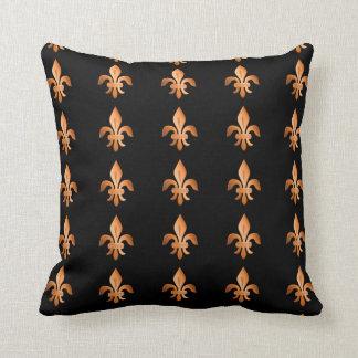 Copper Fleur-de-lis on black Throw Pillow