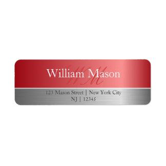 Copper Foil & Brushed Steel Monogram Address Label