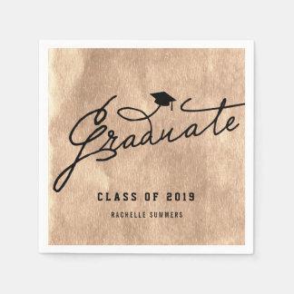 Copper Foil Graduate Graduation Party Paper Napkin