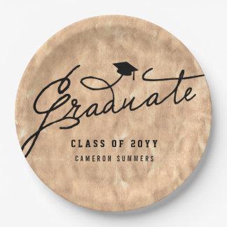 Copper Foil Graduate Graduation Party Paper Plates