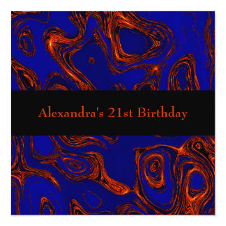Copper Fractal Abstract Black Blue Event 5.25x5.25 Square Paper Invitation Card