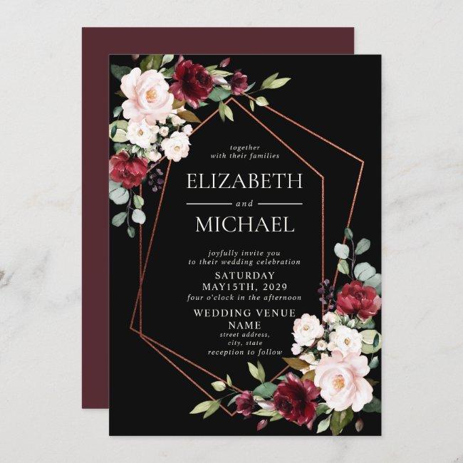 Copper Geometric Burgundy Black Floral  Wedding Invitation